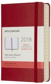2018 - 12 mesi - Agenda giornaliera Pocket rosso scarlatto copertina rigida
