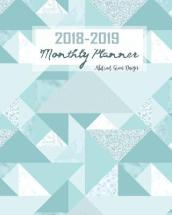 2018-2019 Monthly Planner Abstract Green Design