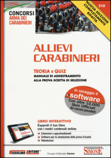 Allievi carabinieri. Teoria e quiz. Manuale di addestramento alla prova scritta di selezione. Con software -  pdf epub