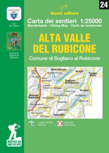 Alta Valle del Rubicone. Comune di Sogliano. Carta dei sentieri 1:25.000. Ediz. italiana, inglese, francese e tedesca