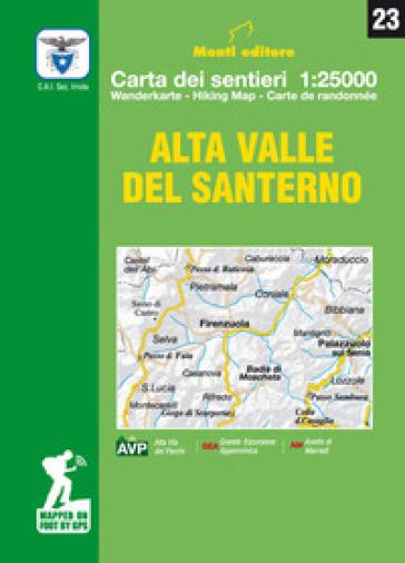 Alta valle del Santerno. Comune di Firenzuola. Carta dei sentieri 1:25.000. Ediz. italiana, inglese, francese e tedesca - Raffaele Monti |