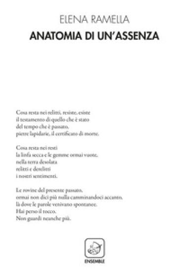 Anatomia di un'assenza - Elena Ramella |