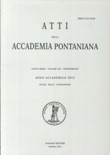Atti dell'Accademia Pontaniana. Nuova Serie. Supplemento (2012). 61: Renaissances de la tragédie. La poétique d'Aristote et le genre tragique de l'antiquité à l'époque contemporaine