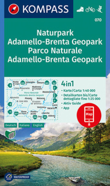 Carta escursionistica n. 070. Parco Naturale Adamello, Brenta 1:40.000. Ediz. italiana, tedesca e inglese