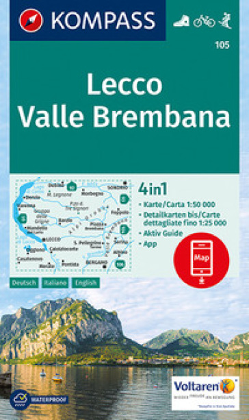 Carta escursionistica n. 105. Lecco, Valle Brembana 1:50.000. Ediz. italiana, tedesca e inglese