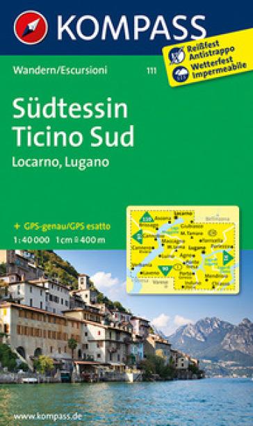 Carta escursionistica n. 111. Tesino Sud, Locarno, Lugano 1:40.000