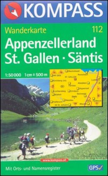 Carta escursionistica n. 112. Svizzera, Alpi occidentale. Appenzellerland, St. Gallen, Santis 1:50.000. Adatto a GPS. DVD-ROM. Digital map