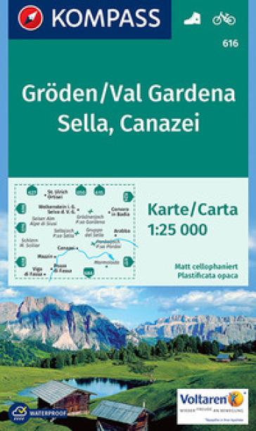 Carta escursionistica n. 616. Groden, Val Gardena, Sella, Canazei 1:25.000