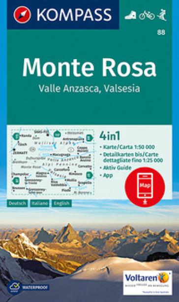 Carta escursionistica n. 88 - Monte Rosa, Valle Anzasca, Valsesia con guida 1:50.000. Ediz. italiana, tedesca e inglese
