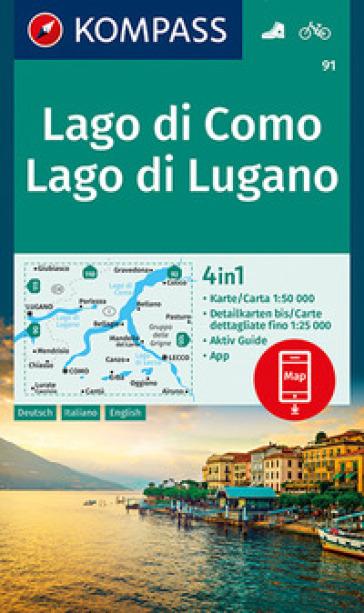 Carta escursionistica n. 91. Lago di Como, Lago di Lugano, 1:50.000. Ediz. italiana, tedesca e inglese