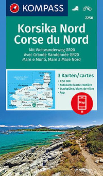 Carta escursionistica n. 2250. Korsika Nord 1:50.000 (set di 3 carte)