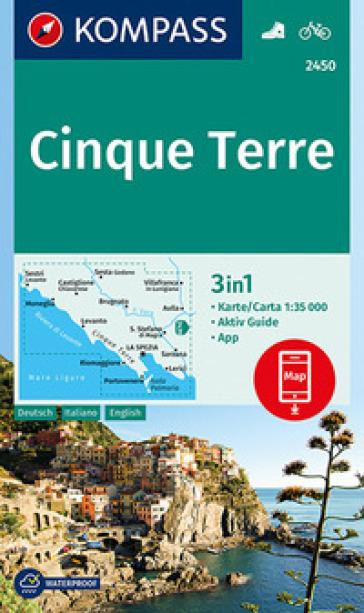 Carta escursionistica n. 2450. Cinque Terre 1:35.000. Ediz. italiana, tedesca e inglese
