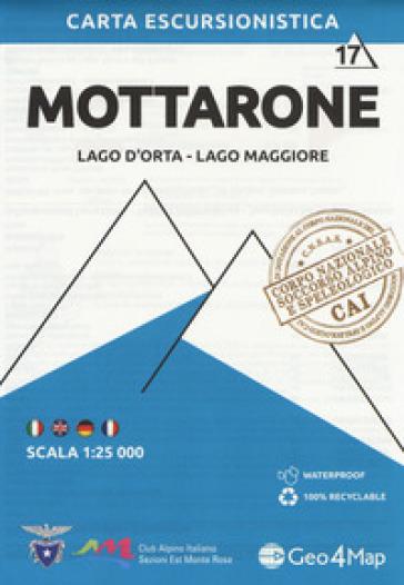 Carta escursionistica Mottarone. Scala 1:25.000. Ediz. italiana, inglese, tedesca e francese. 17: Lago d'Orta, Lago Maggiore