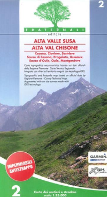 Carta n. 2. Alta valle Susa, alta val Chisone. Carta dei sentieri e stradale scala 1:25.000