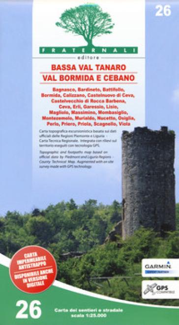 Carta n. 26. Bassa Val Tanaro, Val Bormida e Cebano. Carta dei sentieri e stradale 1:25.000. Adatto a GPS