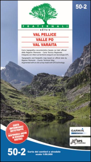 Carta n. 50.2. Val Pellice, Valle Po, Val Varaita. Carta dei sentieri e stradale scala 1:50.000