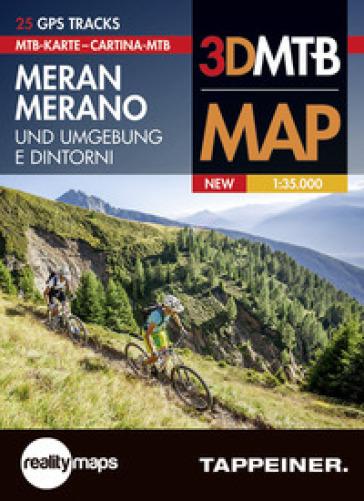 Cartina MTB Merano e dintorni. Cartina topografica 1:35.000. Con panoramiche 3D. Ediz. italiana e tedesca