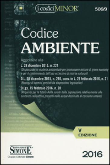 Codice dell'ambiente. Ediz. minor -  pdf epub