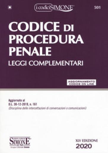 Codice di procedura penale. Leggi complementari. Con aggiornamento online