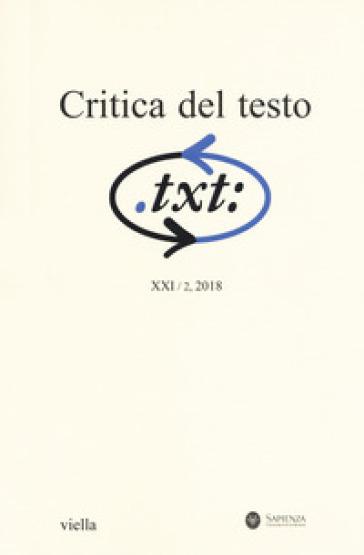 Critica del testo (2018). 2.
