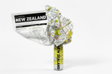 Crumpled city map. New Zealand