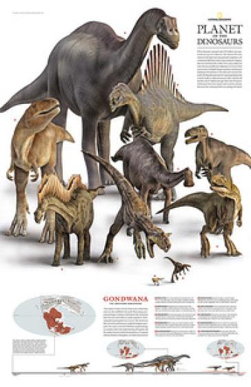 Dinosauri nel continente Gondwana. Carta murale