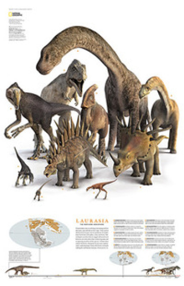 Dinosauri nel continente Laurasia. Carta murale -  pdf epub