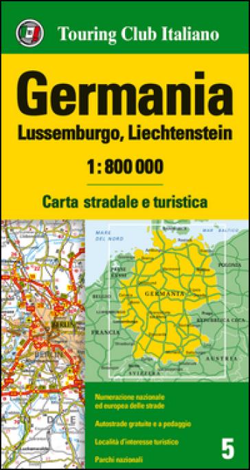 Germania, Lussemburgo, Liechtenstein 1:800.000. Carta stradale e turistica. Ediz. multilingue -  pdf epub