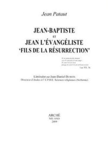 Jean-Baptiste et Jean l'Evangeliste «fils de la resurrection» - Jean Pataut   Jonathanterrington.com