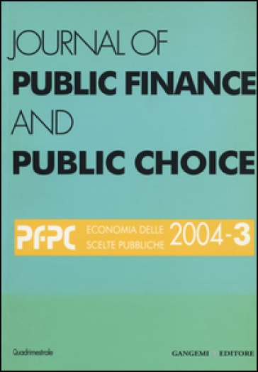 Journal of public finance and public choice (2004). 3.