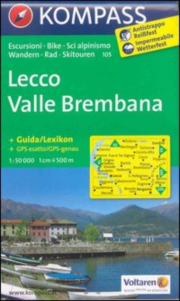 Lecco, valle Brembana. Adatto a GPS. DVD-ROM. Digital map