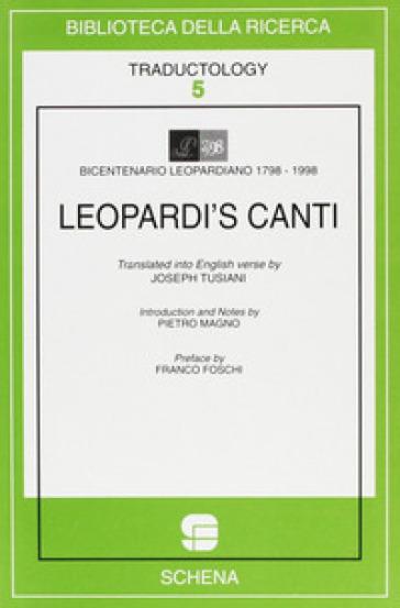 Leopardi's Canti - J. Tusiani   Rochesterscifianimecon.com