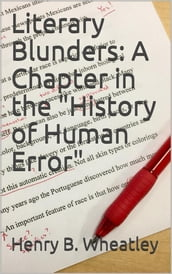 Literary Blunders: A Chapter in the