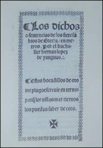 Los dichos o sentencias (rist. anast.) - Lopez de Yanguas  