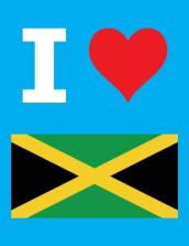 I Love Jamaica - 100 Page Blank Notebook - Unlined White Paper, Cyan Cover