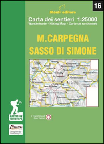 M. Carpegna Sasso di Simone. Carta dei sentieri 1:25000 - Raffaele Monti  