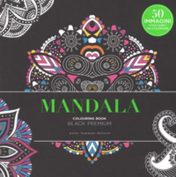 Mandala. Black premium. Colouring book antistress