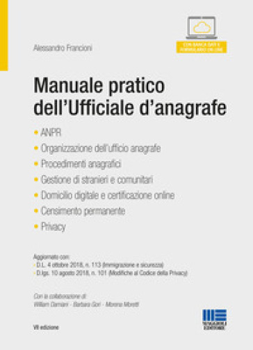 Manuale pratico dell'ufficiale d'anagrafe - Catia Cecchini pdf epub