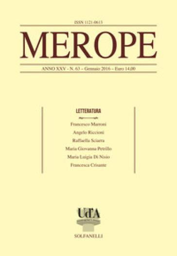 Merope. 63: Letteratura - F. Marroni |