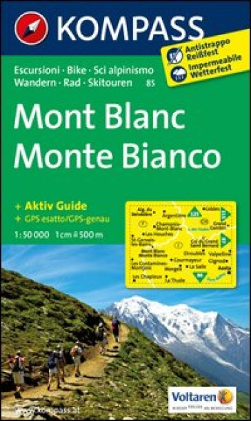 Monte Bianco-Mont Blanc. Adatto a GPS. DVD-ROM. Digital map