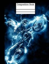 Motocross Electric Composition Notebook - 5x5 Quad Ruled