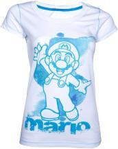 Nintendo - White Blue Mario (T-Shirt Donna XL)