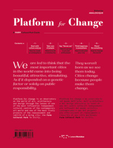 Platform for change. A farm cultural park guide. Ediz. italiana e inglese - Analogique | Thecosgala.com