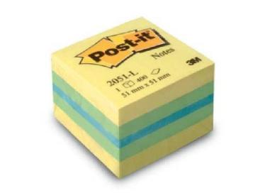 Post-it Notes - Mini Cubo Colori Assortiti Azzurro (Cm 5,1x5,1)