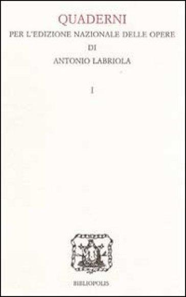 Quaderno per l'edizione nazionale delle opere di Antonio Labriola - L. Punzo pdf epub