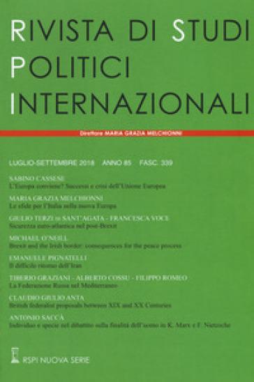Rivista di studi politici internazionali (2018). 3.