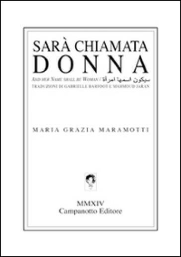 Sarà chiamata donna. Testo a fronte inglese e arabo - Maria Grazia Maramotti pdf epub