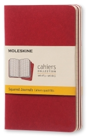 Set 3 Quaderni Cahier Journal a quadretti - Pocket - Copertina Rossa