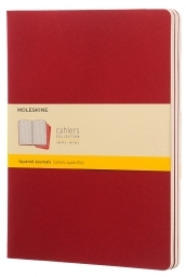 Set 3 Quaderni Cahier Journal a quadretti - Extra Large - Copertina Rossa