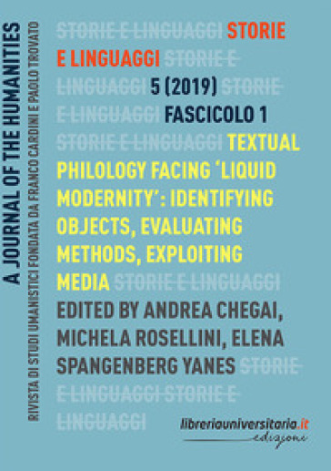 Storie e linguaggi. Rivista di studi umanistici (2019). 1. - A. Chegai  